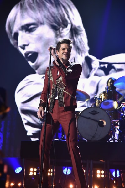 CLEVELAND, OH - APRIL 14:  Brandon Flowers of the Killers performs during the 33rd Annual Rock & Roll Hall of Fame Induction Ceremony at Public Auditorium on April 14, 2018 in Cleveland, Ohio.  (Photo by Theo Wargo/Getty Images For The Rock and Roll Hall of Fame)