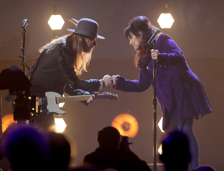 CLEVELAND, OH - APRIL 14:  Musicians Jerry Cantrell and Ann Wilson pay tribute to Chris Cornell during the 33rd Annual Rock & Roll Hall of Fame Induction Ceremony at Public Auditorium on April 14, 2018 in Cleveland, Ohio.  (Photo by Kevin Kane/Getty Images For The Rock and Roll Hall of Fame)