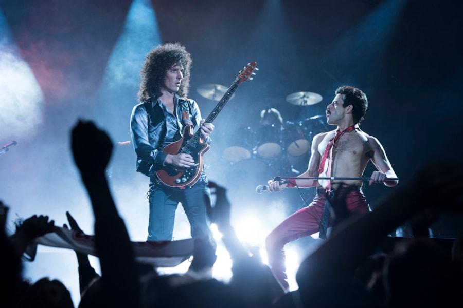 R– Gwilym Lee (Brian May) and Rami Malek (Freddie Mercury) star in Twentieth Century Fox's BOHEMIAN RHAPSODY. Photo Credit: Alex Bailey.