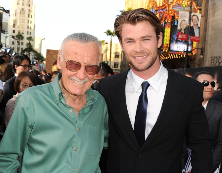 LOS ANGELES, CA - MAY 02: Writer Stan Lee (L) and actor Chris Hemsworth arrive at the premiere of Paramount Pictures' and Marvel's 'Thor' held at the El Capitan Theatre on May 2, 2011 in Los Angeles, California. (Photo by Kevin Winter/Getty Images)
