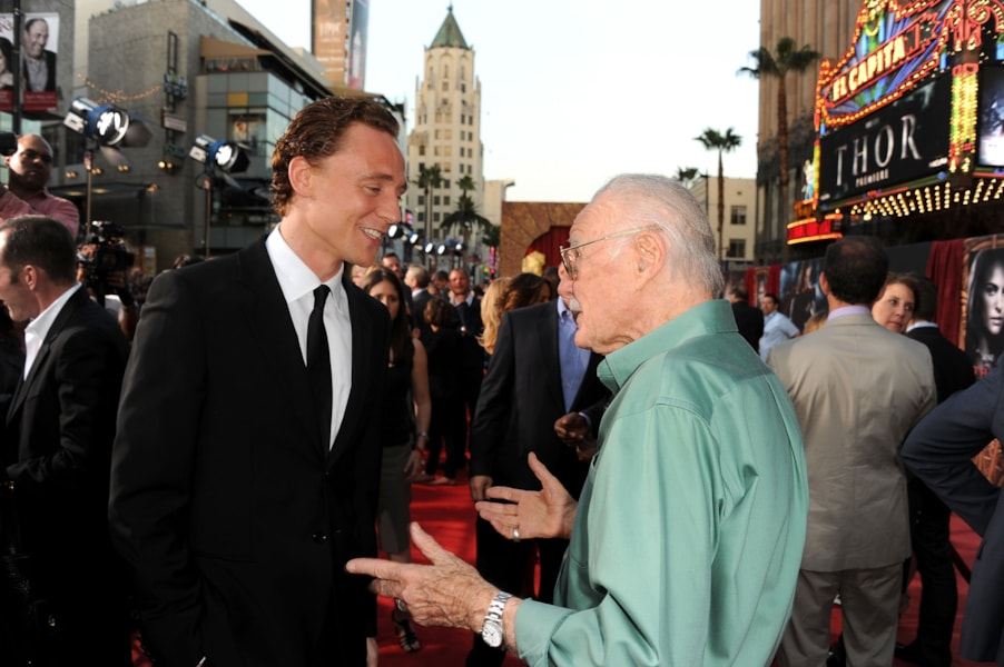 LOS ANGELES, CA - MAY 02: Actor Tom Hiddleston (L) and author Stan Lee arrive at the premiere of Paramount Pictures' and Marvel's 'Thor' held at the El Capitan Theatre on May 2, 2011 in Los Angeles, California. (Photo by Kevin Winter/Getty Images)