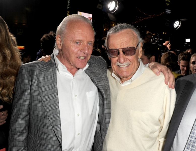 HOLLYWOOD, CA - NOVEMBER 04: Actor Anthony Hopkins (L) and executive producer Stan Lee arrive at the premiere of Marvel's 'Thor: The Dark World' at the El Capitan Theatre on November 4, 2013 in Hollywood, California. (Photo by Kevin Winter/Getty Images)