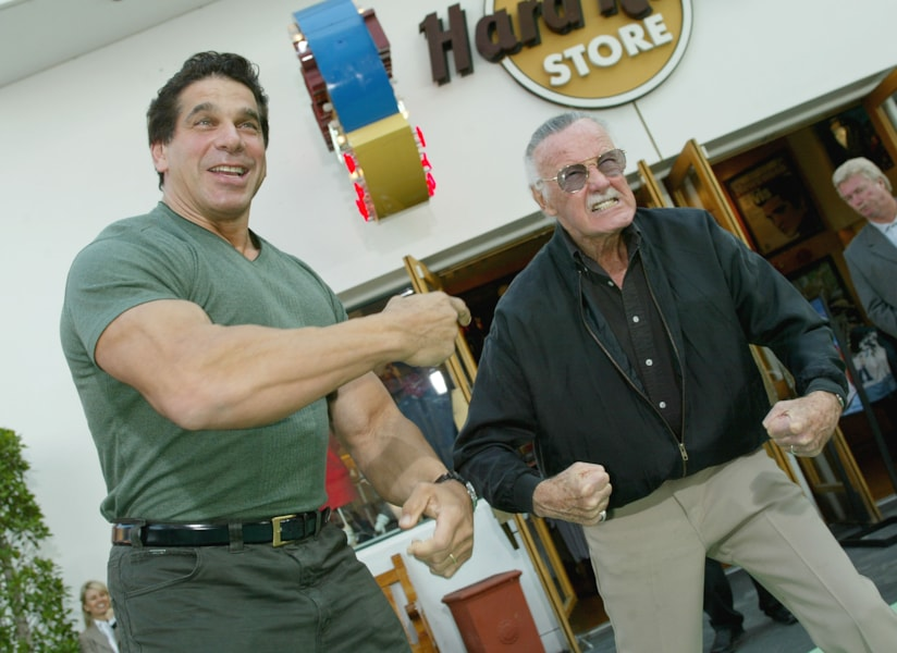 """UNIVERSAL CITY, CA - JUNE 17:  (L-R) The original Hulk Lou Ferrigno and Marvel Comics creator of """"The Hulk"""" Stan Lee attend the world premiere of the movie """"The Hulk"""" at Universal Studios on June 17, 2003 in Universal City, California.  (Photo by Kevin Winter/Getty Images)"""