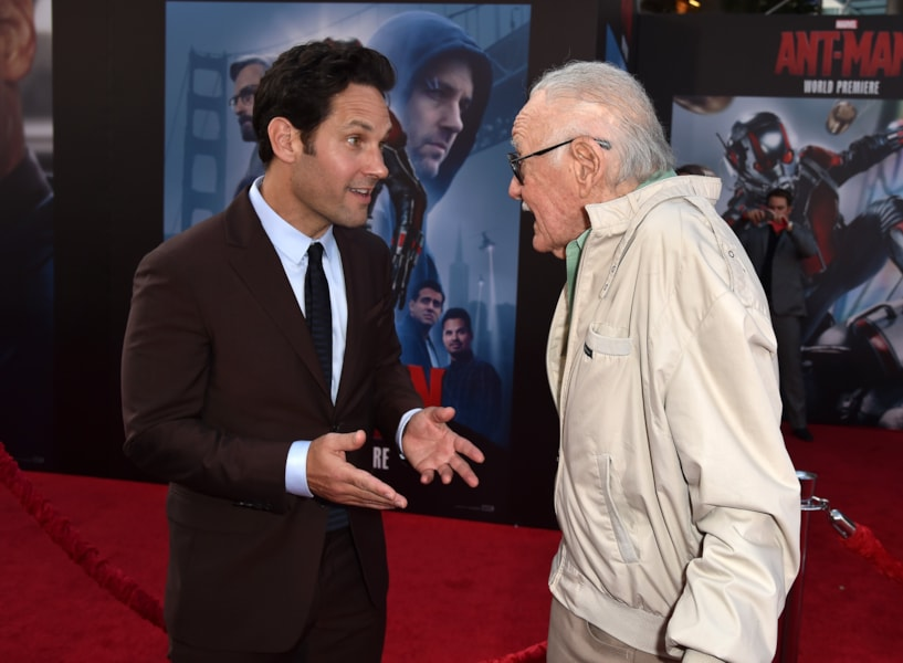 """HOLLYWOOD, CA - JUNE 29:  Actor Paul Rudd (L) and Executive producer/comic book icon Stan Lee attend the premiere of Marvel's """"Ant-Man"""" at the Dolby Theatre on June 29, 2015 in Hollywood, California.  (Photo by Kevin Winter/Getty Images)"""