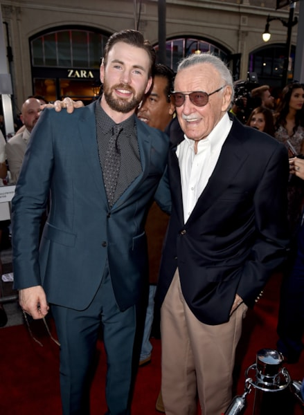"LOS ANGELES, CALIFORNIA - APRIL 12:  Actor Chris Evans (L) and executive producer Stan Lee attend the premiere of Marvel's ""Captain America: Civil War"" at Dolby Theatre on April 12, 2016 in Los Angeles, California.  (Photo by Kevin Winter/Getty Images)"
