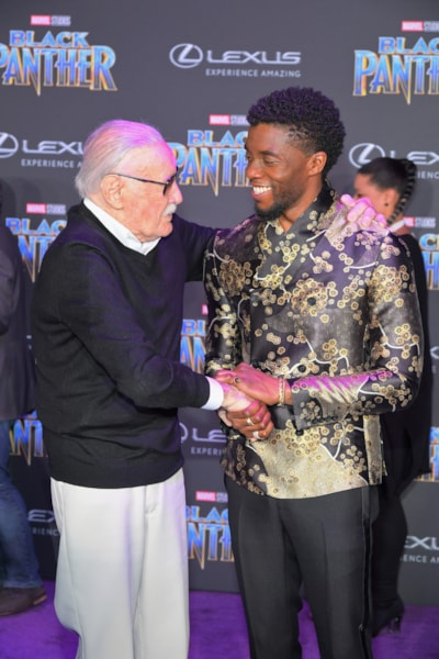 LOS ANGELES, CA - JANUARY 29:  Stan Lee (L) and Chadwick Boseman arrive for the World Premiere of Marvel Studios? Black Panther, presented by Lexus, at Dolby Theatre in Hollywood on January 29th.  (Photo by Charley Gallay/Getty Images for Lexus )