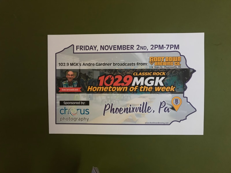 102.9 MGK's Andre Gardner broadcast live from Root Down Brewing Company on November 2. Chorus Photography, THE official photographers for WMGK expressed to us how much they love the town of Phoenixville and it's local businesses, like Root Down, so we came to Root Down for Hometown of the Week live broadcast. Andre gave away…