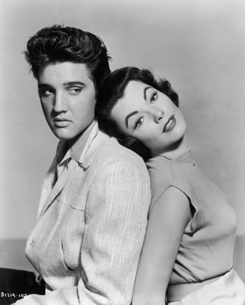 Elvis Presley (1935 - 1977) and Judy Tyler (1933 - 1957) star in the musical film 'Jailhouse Rock', 1957. (Photo by Hulton Archive/Getty Images)