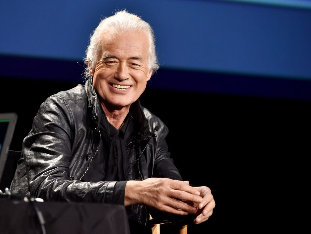 "LOS ANGELES, CA - NOVEMBER 12:  Musician Jimmy Page speaks onstage at ""An Evening With Jimmy Page And Chris Cornell In Conversation"" at the Ace Hotel on November 12, 2014 in Los Angeles, California.  (Photo by Kevin Winter/Getty Images)"