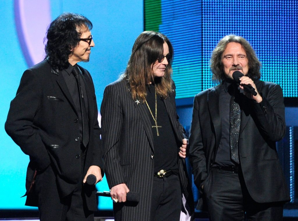 (L-R) Musicians Tony Iommi, Ozzy Osbourne and Geezer Butler of Black Sabbath onstage during the 56th GRAMMY Awards on January 26, 2014   (Photo by Kevork Djansezian/Getty Images)