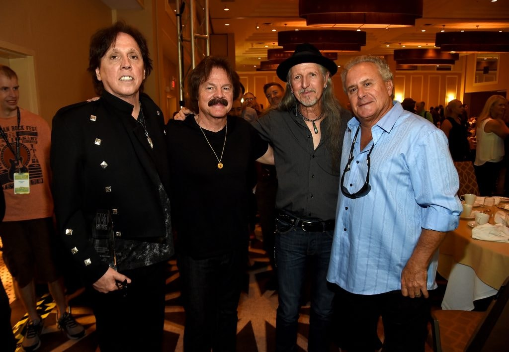 John McFee, Tom Johnston, and Patrick Simmons of The Doobie Brothers and manager Bruce Cohn attend the Music Biz 2015 Awards in May 2015. Classic Rockers (Photo by Rick Diamond/Getty Images)
